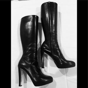 Christian Dior black leather knee high boots 9.5